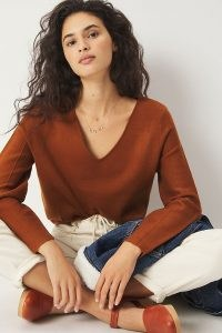 Maeve Lupita V-Neck Sweater in Cedar / brown sweaters