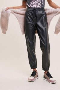 ANTHROPOLOGIE Benny Leather Joggers / cuffed black jogger / sport luxe jogging bottoms