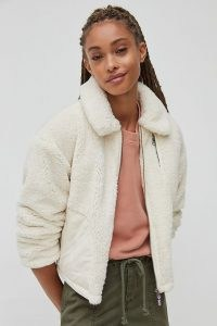 ANTHROPOLOGIE Knit Teddy Jacket in Cream / casual textured jackets