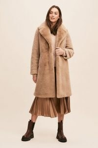 ANTHROPOLOGIE Ruby Panelled Fur Coat / neutral faux fur coats