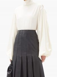 VICTORIA BECKHAM Balloon-sleeve silk blouse ~ volume sleeves ~ high neck blouses