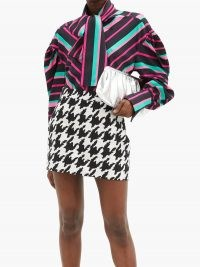 ELZINGA Balloon-sleeve striped satin shirt | multicoloured bold stripe shirts | voluminous blouse