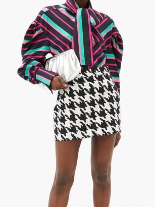 ELZINGA Balloon-sleeve striped satin shirt | multicoloured bold stripe shirts | voluminous blouse - flipped