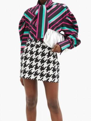 ELZINGA Balloon-sleeve striped satin shirt | multicoloured bold stripe shirts | voluminous blouse