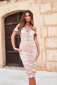 LAVISH ALICE bardot frill satin ruched midi dress in mocha – off the shoulder bodycon – fitted going out fashion