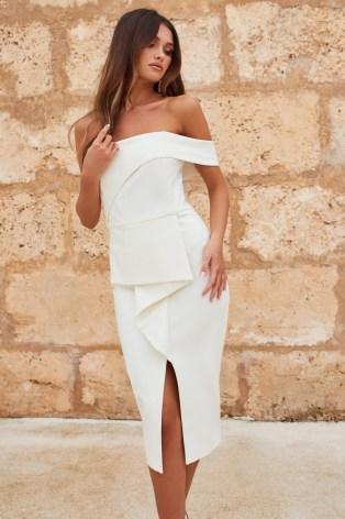 LAVISH ALICE bardot peplum midi dress in white | off the shoulder pencil dresses | glamorous party fashion - flipped