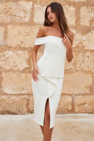 LAVISH ALICE bardot peplum midi dress in white | off the shoulder pencil dresses | glamorous party fashion