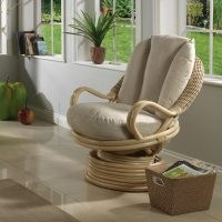 Rowan Deluxe Swivel Rocker Armchair by Bay Isle Home – rattan weave and solid cane – conservatory furniture