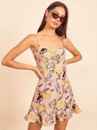 REFORMATION Baylor Dress / skinny shoulder strap dresses / tropical bird prints / floral print ruffle hem frock