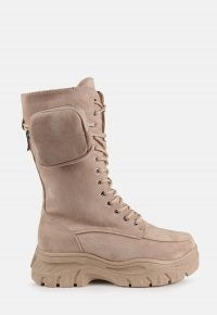 MISSGUIDED beige faux suede pocket ankle boots – chunky sole boots