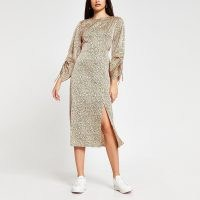 RIVER ISLAND Beige long sleeve animal print midi dress / split hem dresses