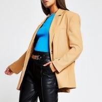 RIVER ISLAND Beige oversized button detail blazer – grandad style jackets & blazers