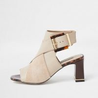 RIVER ISLAND Beige PU cross over peep toe shoe boot
