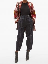 SEE BY CHLOÉ Belted cropped straight-leg jeans ~ black denim ~ crop hem stitch detail jeans