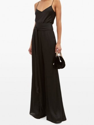 GALVAN Belted high-rise textured-satin wide-leg trousers ~ black evening pants - flipped