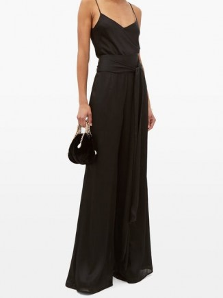 GALVAN Belted high-rise textured-satin wide-leg trousers ~ black evening pants