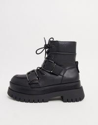 Bershka buckle detail chunky boots in black