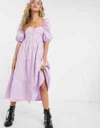 Bershka button down tiered poplin smock dress in lilac ~ smocked open back dresses