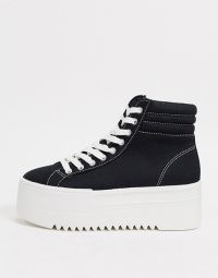 Bershka lace front hyrbid trainer in black / chunky high top trainers / thick sole flatforms