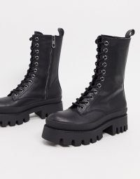 Bershka lace up biker boot with sole detail in black / textured chunky soles / combat boots
