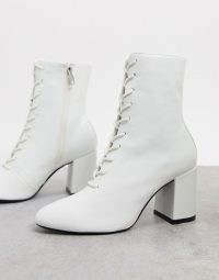 Bershka lace up heeled boot in white / block heel boots