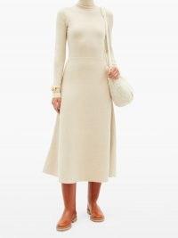 GABRIELA HEARST Betti roll-neck cashmere-blend knitted dress   long sleeve A line skirt dresses   designer winter fashion
