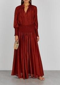 BIRD & KNOLL Delilah terracotta cotton and silk-blend maxi dress / long chic boho dresses