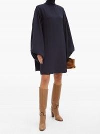 VICTORIA BECKHAM Bishop-sleeve silk-crepe mini dress ~ navy blue high neck dresses
