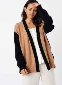 BRORA CASHMERE COLOUR BLOCK CARDIGAN Black & Sand / luxury cardigans / knitwear