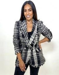 FOREVER UNIQUE Black & White Tweed Double Breasted Jacket / monochrome checked jackets / fringe trim