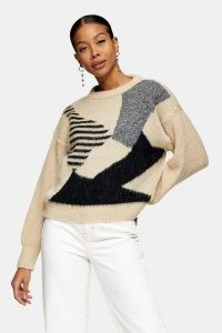 Topshop Black And White Abstract Geometric Brushed Jumper