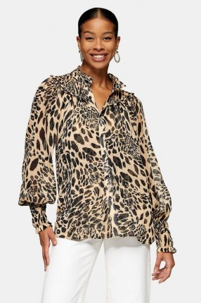 TOPSHOP Black And White Animal Print Shirred Blouse - flipped