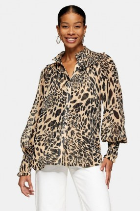 TOPSHOP Black And White Animal Print Shirred Blouse