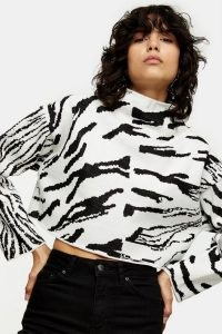 TOPSHOP Black And White Spliced Zebra Sweatshirt Monochrome / black and white animal print sweatshirts / crop hem high neck tops