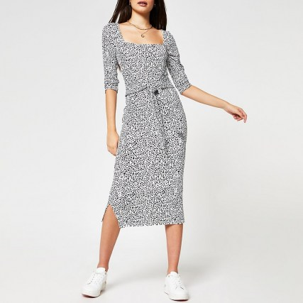 RIVER ISLAND Black animal print square neck dress - flipped