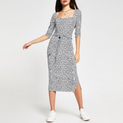 RIVER ISLAND Black animal print square neck dress