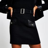 River Island Black boucle pu mini skirt | skirts with belts