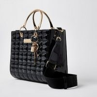 River Island Black boxy quilted tote handbag | grab handle bags