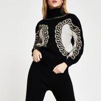 River Island Black chain detail print jumper | patterned high neck jumpers