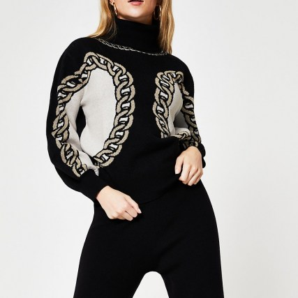 River Island Black chain detail print jumper | patterned high neck jumpers - flipped