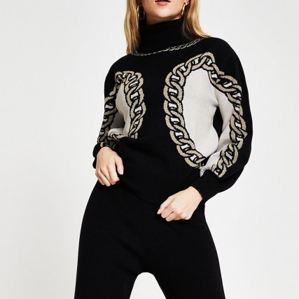 River Island Black chain detail print jumper | patterned high neck jumpers