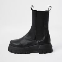 River Island Black chunky chelsea ankle boot | thick sole pull on boots