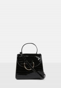 Missguided black cross body ring front mini bag | croc effect crossbody bags