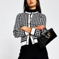 RIVER ISLAND Black dogtooth gold button detail cardigan / checked round neck cardigans