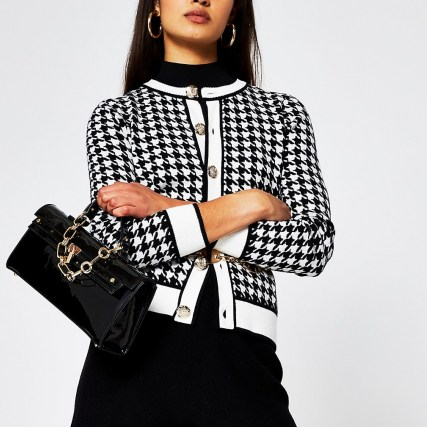 RIVER ISLAND Black dogtooth gold button detail cardigan / checked round neck cardigans - flipped