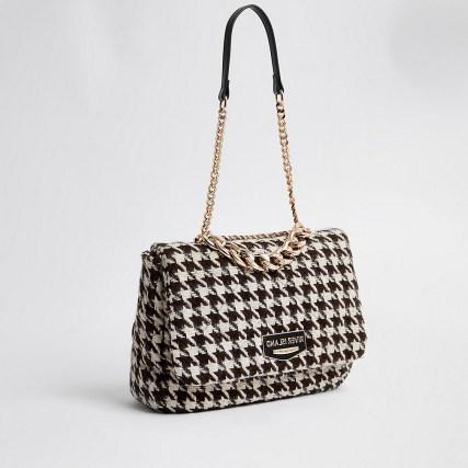 RIVER ISLAND Black dogtooth soft underarm shoulder handbag / houndstooth fabric bags - flipped