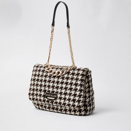 RIVER ISLAND Black dogtooth soft underarm shoulder handbag / houndstooth fabric bags