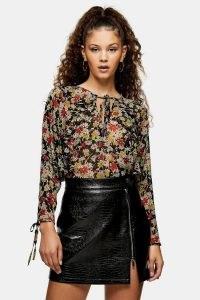 TOPSHOP Black Floral Print Ruffle Grunge Blouse