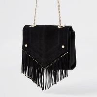 River Island Black leather studded fringe detail handbag | fringed chain strap bags | boho accessories