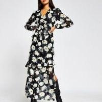 RIVER ISLAND Black long sleeve floral maxi dress / romantic flower print dresses